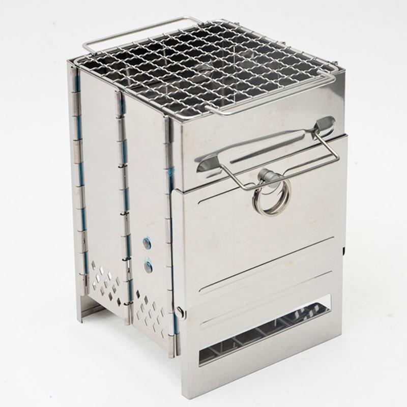 Cooking Picnic Wood Burning Folding Portable Mini Stainless Steel Barbecue Stove image