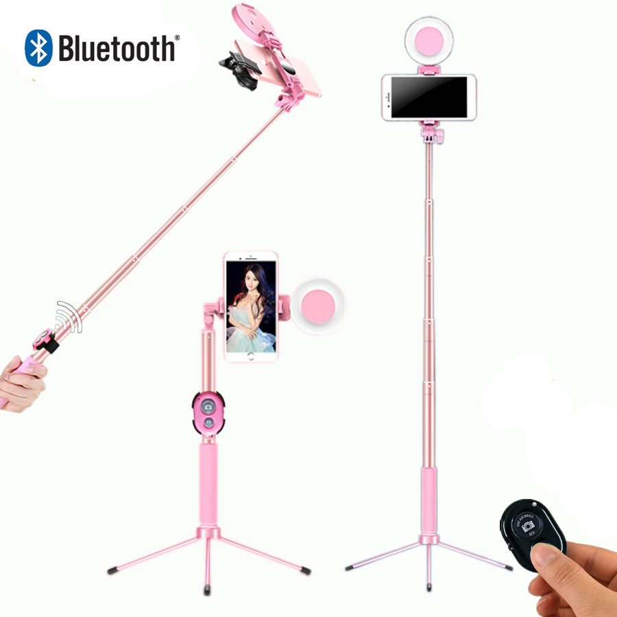 Selfie Stick Anillo de luz LED trípode en vivo extensible 1,7 m soporte 4 en 1 con monópode para iPhone X 8 Android smartphone