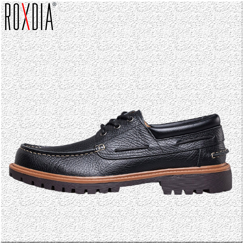 ROXDIA genuine leather casual men flats waterproof loafers dress shoes for work flat male driver shoe plus size 39-47 RXM059 hot sale winter fashion shoes men luxury brand loafers genuine leather casual mens flat ankle boots high light flats male shoe