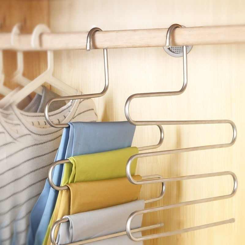 Stainless Steel Trousers Hanger Multifunction Pants Closet Belt Holder Rack S-type 5 Layers Saving Space Closet Space Saver