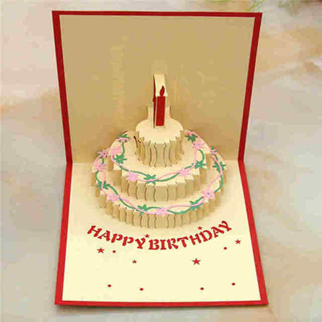 Happy Birthday Cake Greeting Card Genius Magic Fairy Candle Piano 3D Handmade Pop Up Retro Building Cards Creative Hot 1006