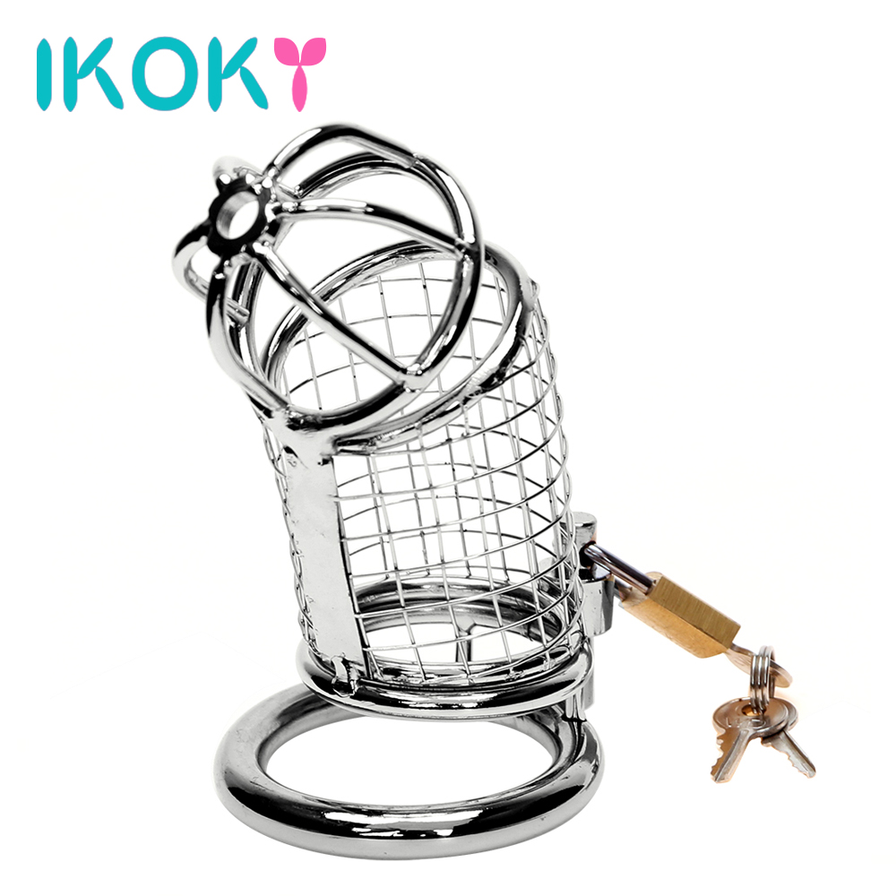 IKOKY Male Chastity Device Cock Cage Penis Cock Ring Sleeve Lock Stainless Steel Sex Toys for Men Adult Games Lockable Sex Shop kid s home toys brand large particles city hospital rescue center model building blocks large size brick compatible with duplo