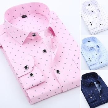 Men Shirts Casual Business Long Sleeved Slim Fit Formal  Printed Plaid Shirt Men