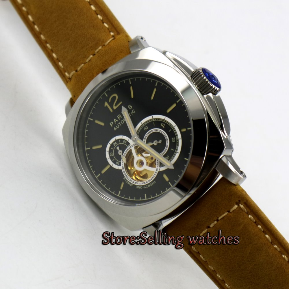 44mm Parnis Black Dial Green Marks Stainless Steel Sapphire MIYOTA Automatic Movement Men's Watch relojes full stainless steel men s sprot watch black and white face vx42 movement