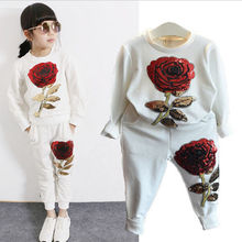 Rose Print Clothing Kids Girl Clothing Set Girls Kids Sequins Rose Outfits Clothes Long Sleeve T Shirt+Long Pants Set
