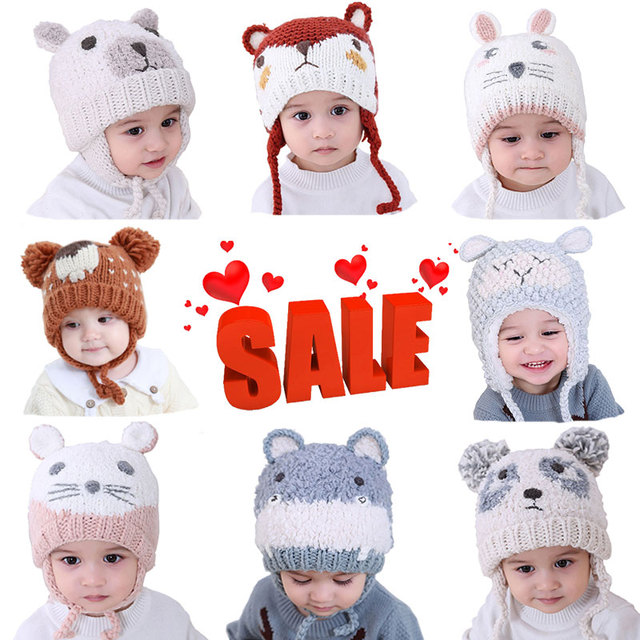 c501d05fa71 Moon Kitty 2018 Winter Cute Baby Hats Double Thicken Warm Handmade Woven  Male Baby Girl Baby Knit Cap Autumn Hats For Kids