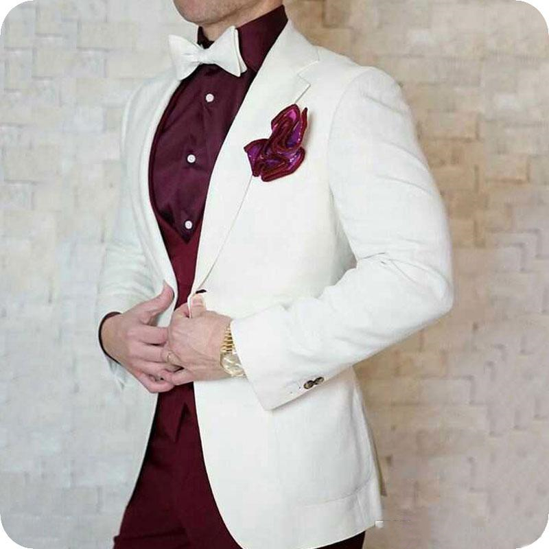 Latest Coat Pants Designs Ivory Men Suits For Wedding Prom Suits One Button Groom Tuxedos Terno Masculino Slim Fit Costume Homme