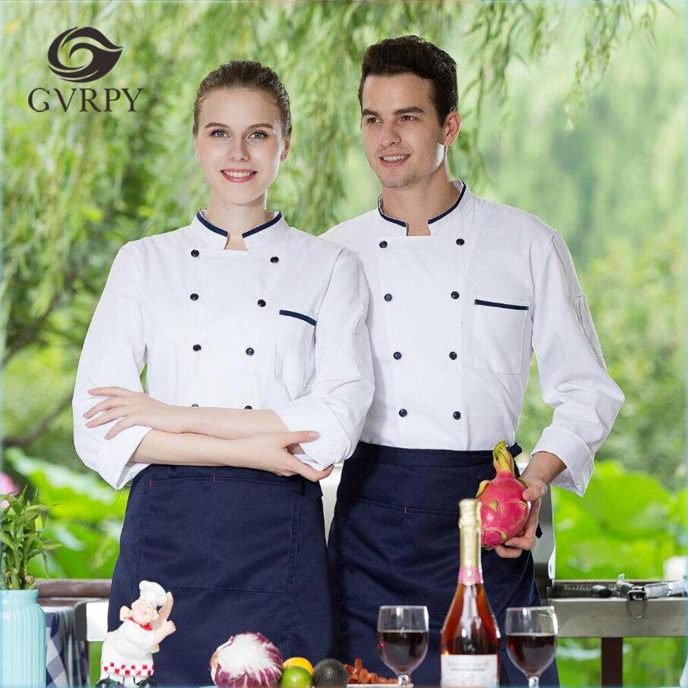 Men Women's Stand Collar Long-Sleeved M-3XL Restaurant Kitchen Bakery Work Wear Chef Jackets Apron Waiter Autumn Winter Uniforms