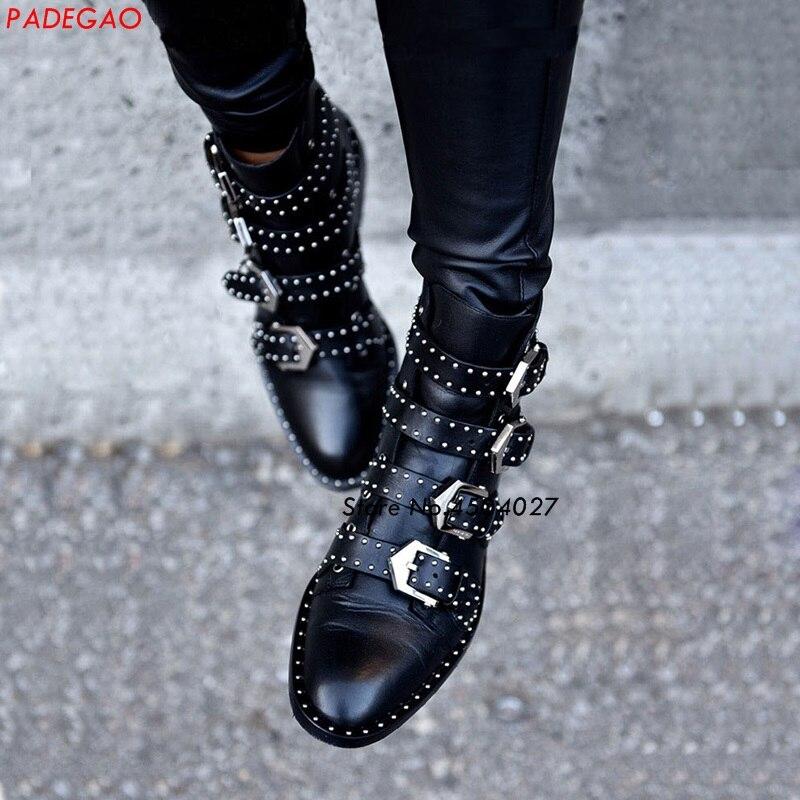 Cheville Bas Mujer Bottes Boucle Clouté Sangles Talon Noir Courtes Chaussures Dames Zapatos Femmes qXA4w5C