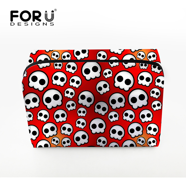 Women Makeup Bags Cute Skull Head Printing Cosmetics Case For Travel Ladies Large Make up Bag Pouchs Toiletry Organizer Clear
