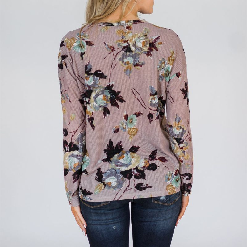 2019 Autumn Women Floral Print Cardigan Casual V Neck Long Sleeve Single Breasted Button Bow Tie Loose Slim Coat in Blouses amp Shirts from Women 39 s Clothing