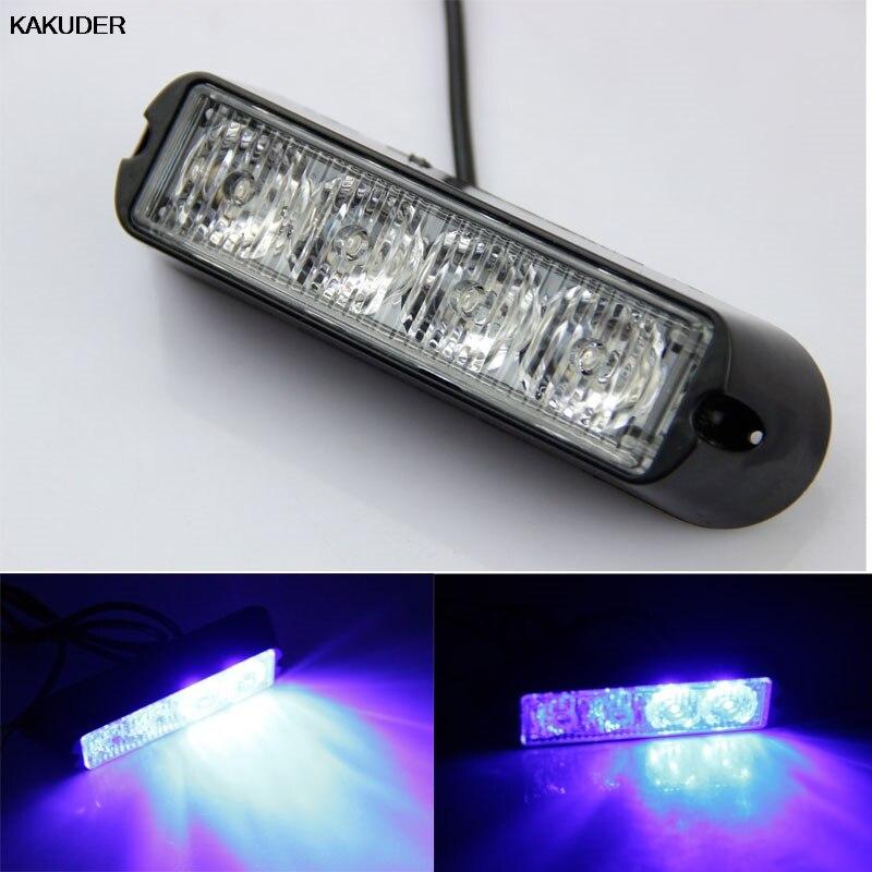 KAKUDER 4 LED Car Truck Emergency Beacon Lights Bar Hazard Strobe Warning Yellow White