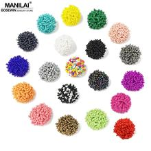 MANILAI  Perfect Match Bohemia Earrings For Women Accessories Ethnic Jewelry Resin Handmade Beaded Earrings 19 Color Choice