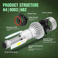 Car Headlight Bulb Auto Headlamp COB LED H1 H7 H4 8000LM 12V/24V Hi-Lo Beam 72W 6500K