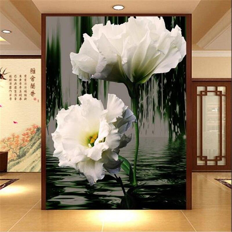 Beibehang 3D Stereo Romantic White Flower Water Reflection Invert Passway 3D Wallpaper Living TV Background Mural wallpaper