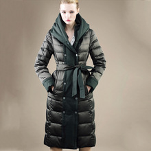 2016 women winter fashion down jacket patchwork hooded white duck down jacket designer parkas for christmas