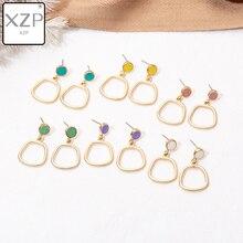 XZP 2019 Korean New Vintage Geometric Irregular Square Water Drop Enamel Pendant Dangle Earrings For Women Fashion Oorbellen