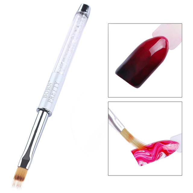 BORN PRETTY 1 Pc UV Gel Brush Gradient Painting Pen Drawing Brush White Rhinestone Handle Manicure Nail Art Tool