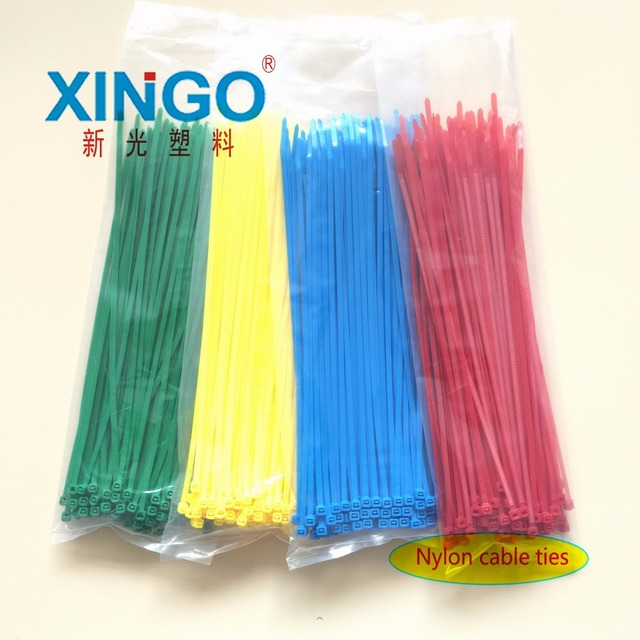 100Pcs/bag 5x200 5*200 4.8mm Width Self-Locking  Green Red Blue Yellow Nylon Wire Cable Zip Ties.cable ties