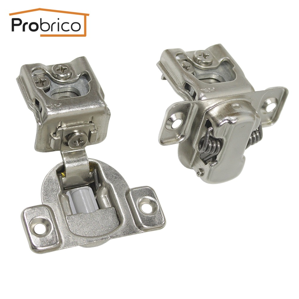 Probrico 4 Pair Soft Close Kitchen Cabinet Hinge CHM36H1-1-4 Concealed Frame Insert Overlay Furniture Cupboard Door Hinge probrico self close kitchen cabinet hinge brushed nickel ch199bsn partial wrap 1 4 inch overlay furniture cupboard hinge