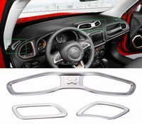 Matt Inner Front + Middle Air Vent Outlet Cover Trim for Jeep Renegade 2015 2016