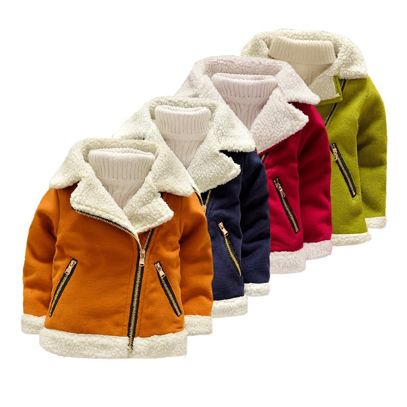 2-8T Children's Clothing Winter Warm Jacket Fashion Solid Turn-down Collar Plus Fleece Coat Outerwear High Quality plus size epaulet design pu leather turn down collar zip up jacket