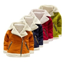 2-8T Children's Clothing Winter Warm Jacket Fashion Solid Turn-down Collar Plus Fleece Coat Outerwear High Quality