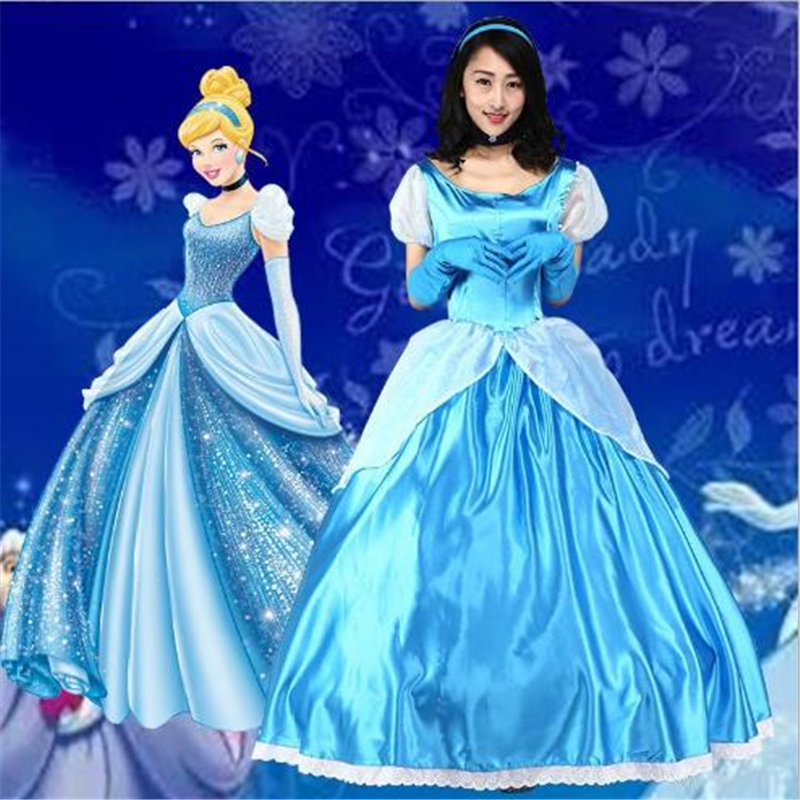 Boutique Spot Adult Female Sexy Blue Cinderella Halloween Party Princess Costume Dress Up Fancy Cinderella Cosplay Sexy Dress