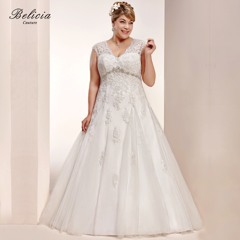 Plus Size Empire Waist Wedding Dress: Belicia Couture Women Wedding Dresses V Neck Empire Waist