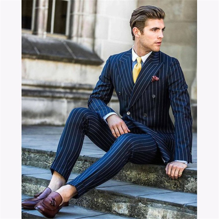 Navy Blue Stripe Men Wedding Suits Slim Fit 2 Pieces Groom Tuxedo Custom Double Breasted Mens Suit Prom Blazer Terno Masculino