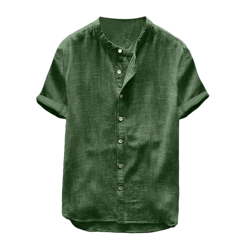 גברים בבאגי כותנה פשתן מוצק צבע סוודר קצר שרוול רטרו חולצות Loose Fit להישאר חולצות חולצה Freeship חולצות גברים של בגדים
