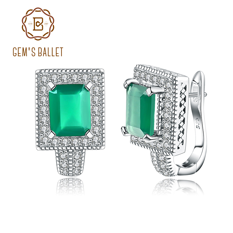Gem's балетные простые натуральный зеленый агат, натуральный камень, Винтажные серьги гвоздики, 925 пробы серебряные серьги, хорошее ювелирное изделие для женщин