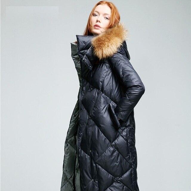 93aaf81b94 Damskie pikowane kurtki z futrem kapturem kobiet zima 2016 z prawdziwe  futro z kapturem długi kurtka