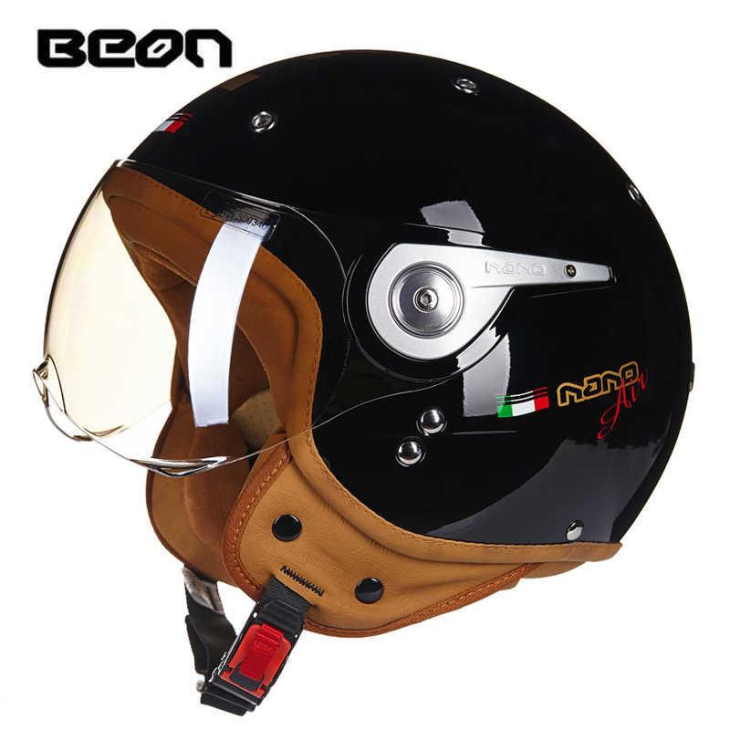 Новый Ретро BEON мотоциклетный шлем винтажный крейсер для чоппера и скутера кафе гонщик Мото шлем 3/4 открытый шлем