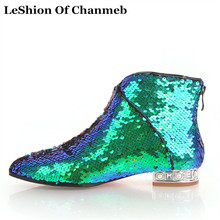 2019 bling bling ankle boots women pearl heels flats autumn winter party  booties female club glitter 4c2e09a7d7ac