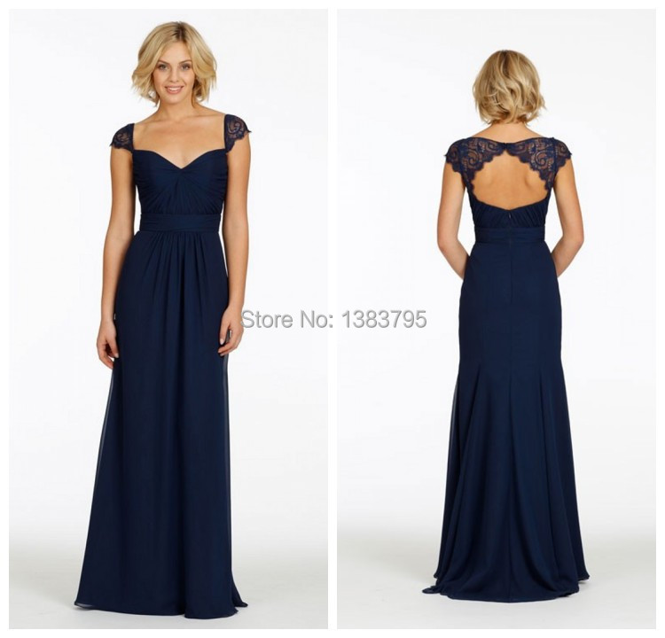 Popular Navy Floor Length Bridesmaid Dresses-Buy Cheap Navy Floor ...