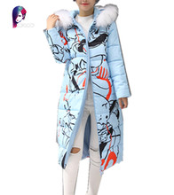 2016 New Winter Coats Women Long Section Jackets Thick Cotton Knee Fur Collar Printing Female Coat Plus Size