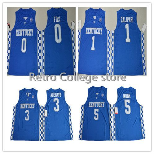 retro throwback kentucky wildcats college basketball jerseys 5 malik monk 3  edrice adebayo 1 coach j e2bbe01f2