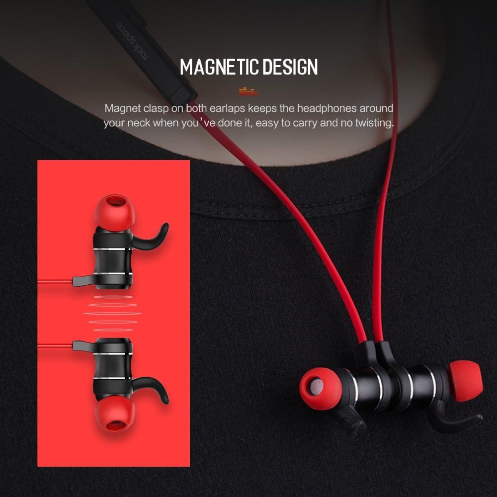 ROCK Bluetooth Earphones In-Ear Magnetic Neckband Headphone Sweat Waterproof For Running Budget Wireless Sleep Headsets 5
