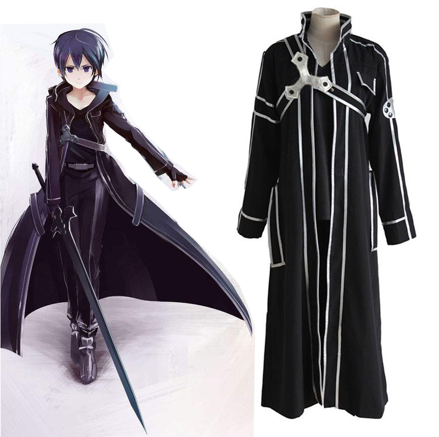 Anime Sword Art Online SAO Kirito Cosplay Costumes Kirigaya Kazuto Full Set Uniform Cloak Belt Shoulder