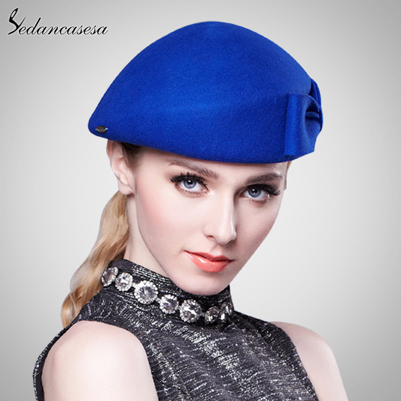 d2ac4f0f30a0a Sedancasesa Vintage Women Ladies Elegant 100% Cloche Wool Hat Red Black  Beret Cap High end Airline Stewardess Hats FW121003-in Women s Berets from  Apparel ...