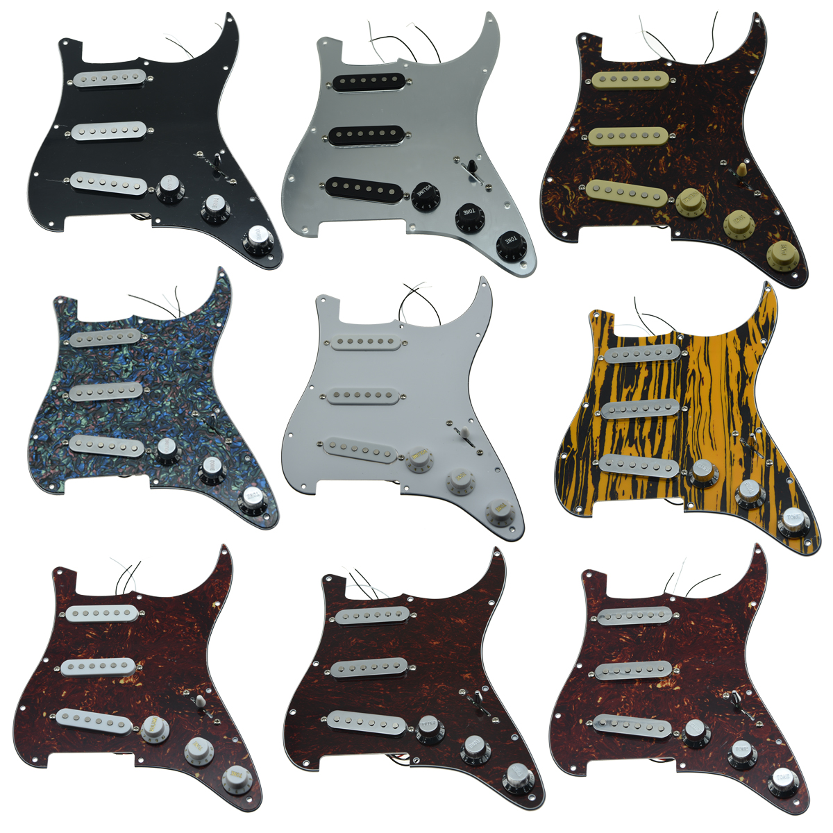 Dopro Various Loaded Strat SSS Pickguard Prewired ST Strat Pickguard with Pickups Fits for Fender musiclily 3ply pvc outline pickguard for fenderstrat st guitar custom