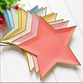 8 Pcs Colorful Gold Foil Star Party Wedding Decoration Disposable Tableware Paper Tray Paper Dish for Bowl Dinner Decor Supplies