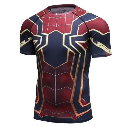 new 3D Iron Spiderman T-shirt Men Marvel Superhero Men T-Shirt Compression  Short Sleeve Brand Fitness Tops & Tees Lahore