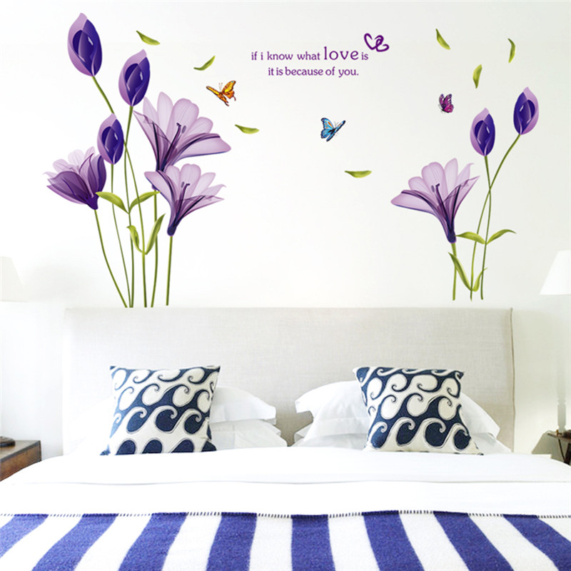 Purple Pollen Removable Wall Art Decal Sticker Diy Home: Creative Purple Tulips Flowers 3D Wall Stickers For Living