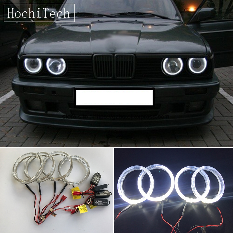 HochiTech 4pcs Cree LED Chip Light Guide Angel Eyes Kit White Halo Ring daytime light with Dimmer Fuction For BMW E30 E32 E34 4x 120mm rgb multi color wifi remote control halo rings angel eyes led headlights for bmw e32 e34 e30 12v light kits