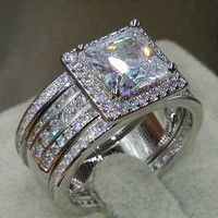 Size 5 11 Wholesale Princess Cut Luxury Jewelry 3 IN 1 925 Sterling Silver Pave CZ