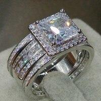 Kích thước 5-11 Bán Buôn Chúa Cut Đồ Trang Sức Sang Trọng 3 TRONG 1 925 Sterling Silver Pave CZ stones Cưới Engagement Phụ Nữ Nhẫn b