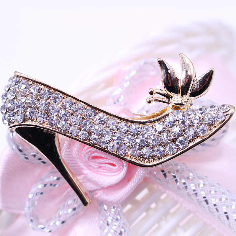 a2834cedb4 DIY High Heels Shoes Brooch Crystal Collar Pin Brooches Austrian Crystal  Brooch Fashion Brooches For Women charms Jewelry