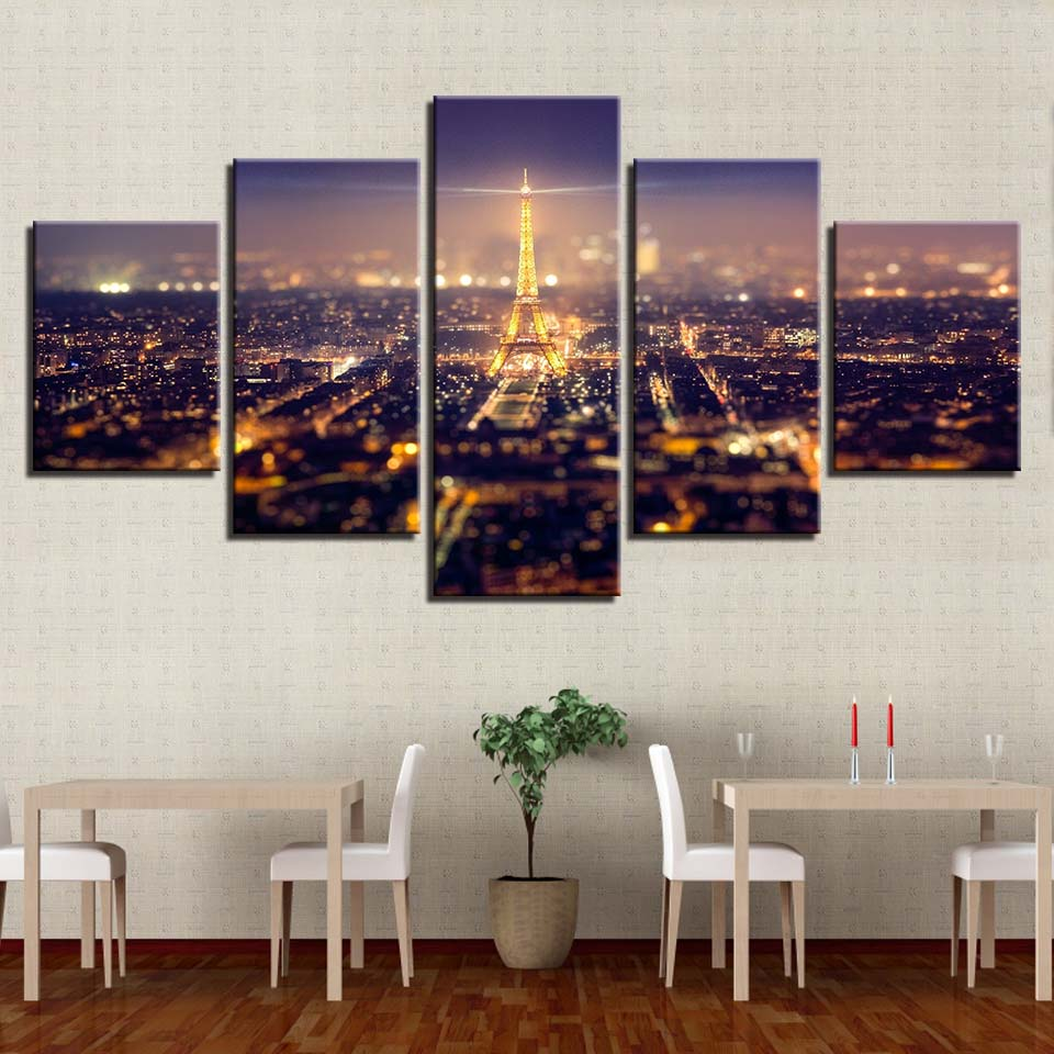 Beautiful Paris Eiffel Tower 5 Pieces canvas Wall Art Picture Home Decor